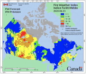 This forecast index map breakdowns the varying degrees of fire weather risks around Canada for the June 23rd 2020.