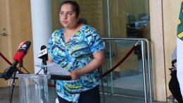Dr. Kami Kandola addresses reporters at the Legislative Assembly. (Photo by Luke Carroll/ CKLB Radio.)